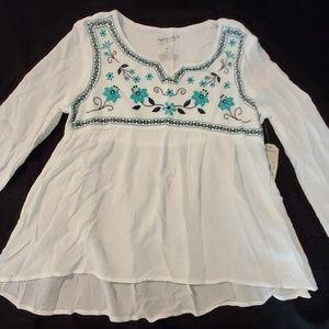 NWT Arizona Jean Co. Boho Floral Shirt, 10-12
